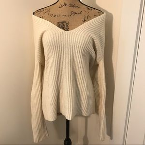 Ann Taylor Oversized Chunky Cream Sweater Shoulder